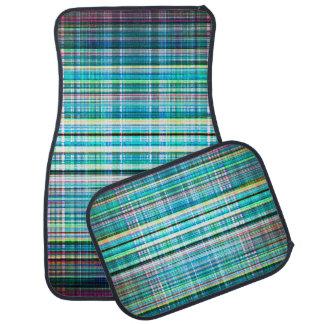 Blue and green rough stripes pattern car mat