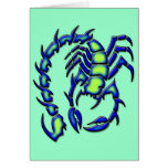 BLUE AND GREEN SCORPION GREETING CARD