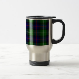Blue and Green Scottish Clan Sutherland Tartan Travel Mug