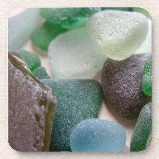 Blue and Green Sea Glass Cork Coasters