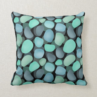 Blue and green sea pebbles throw pillow