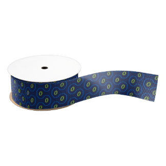 Blue and Green Space-Age Honeycomb Grosgrain Ribbon