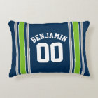 Blue and Green Sports Jersey Custom Name Number Accent Pillow