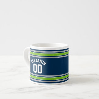 Blue and Green Sports Jersey Custom Name Number Espresso Mug