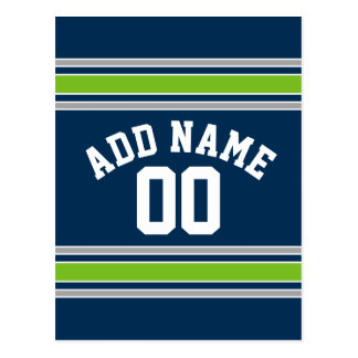 Blue and Green Sports Jersey Custom Name Number Postcard