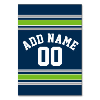Blue and Green Sports Jersey Custom Name Number Table Cards