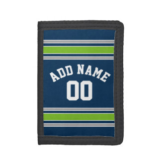 Blue and Green Sports Jersey Custom Name Number Trifold Wallets