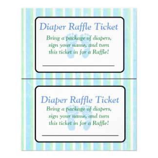 Blue and Green Striped Baby Shower Raffle Ticket Flyer