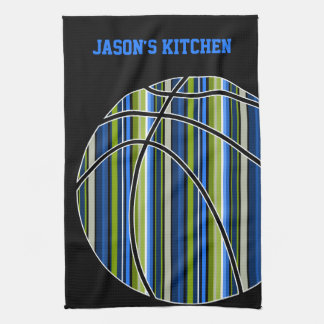 Blue and Green Striped Basketball Design on Black Kitchen Towel