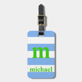 Blue and Green Striped Luggage Tag