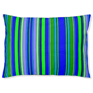 Blue and Green Striped Pet Bed