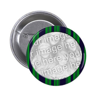 Blue and Green Striped photo frame 2 Inch Round Button
