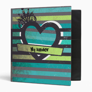 blue and green stripes binder