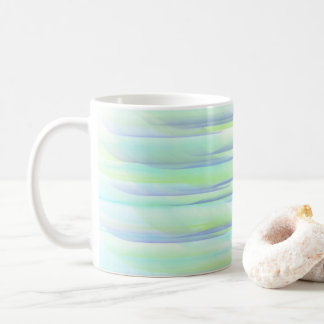 BLUE AND GREEN STRIPES CASCADE COFFEE MUG