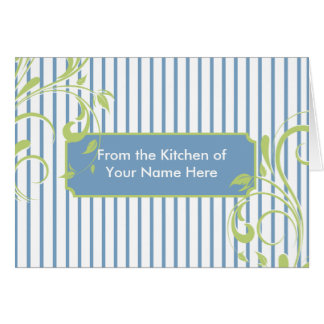 Blue and Green Stripes Personalized Recipe Card