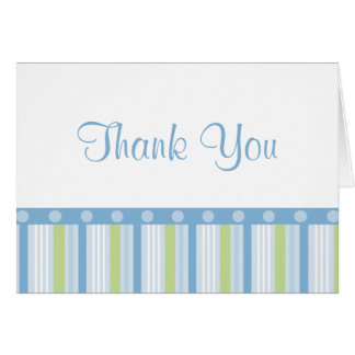 Blue and Green Stripes Thank You Card