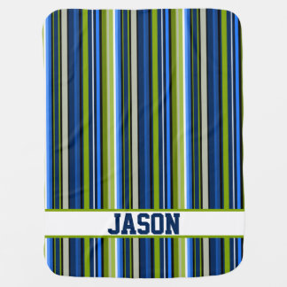 Blue and Green Stripes with Varsity Style Letters Baby Blanket