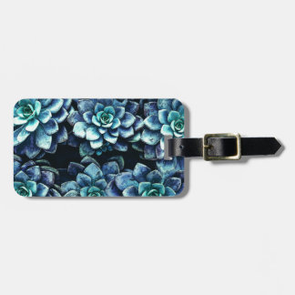 Blue And Green Succulent Plants Luggage Tag
