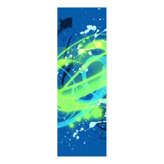 Blue and green swirl grunge bookmark mini business card