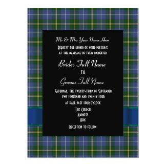 "Blue and green tartan plaid formal wedding 6.5"" x 8.75"" invitation card"