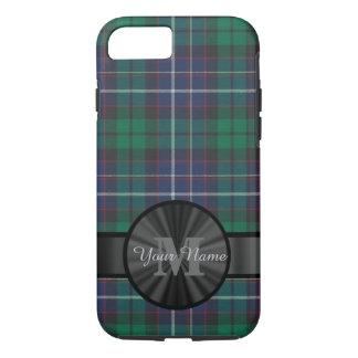 Blue and green tartan plaid monogram iPhone 8/7 case
