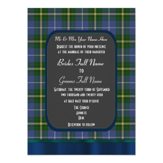 Blue and green tartan plaid wedding card