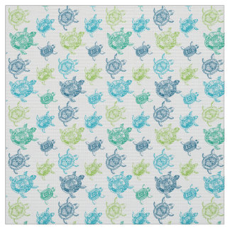 Blue and Green Turtles Fabric