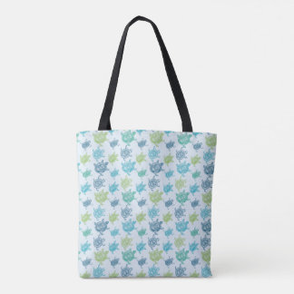Blue And Green Turtles Pattern Tote Bag
