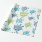 Blue and Green Turtles Wrapping Paper