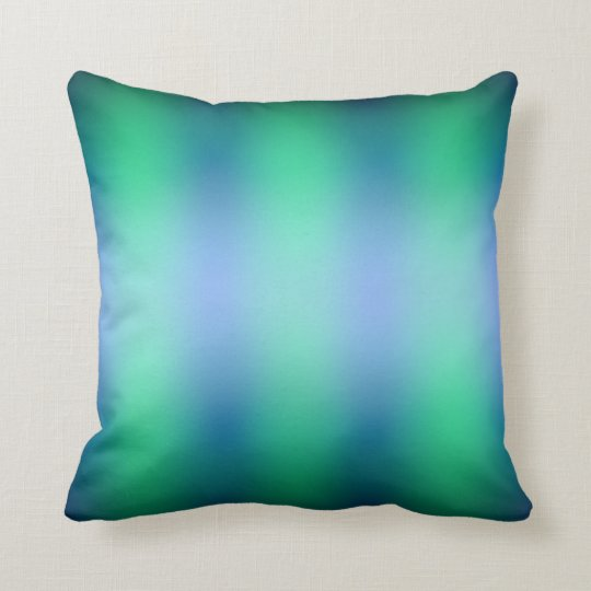 Blue and Green Vertical Stripe Throw Pillow