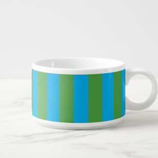 Blue and Green Vertical Stripes Bowl