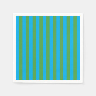 Blue and Green Vertical Stripes Disposable Napkin