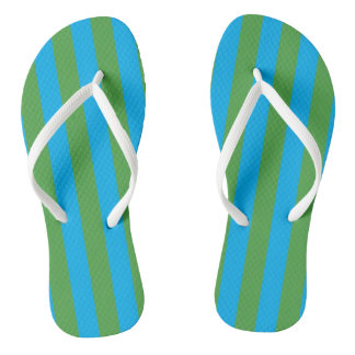 Blue and Green Vertical Stripes Flip Flops