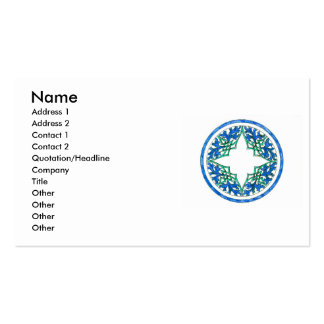 blue and Green victorian Round Graphic Business Card