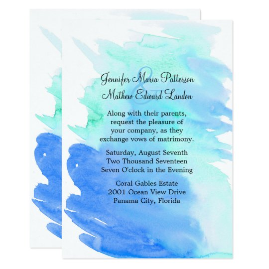 Blue and Green Watercolor Wash Wedding Invitation