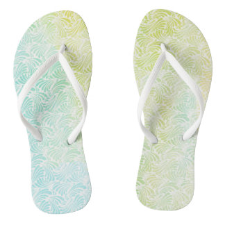 Blue and Green Watercolor Waves Flip Flops