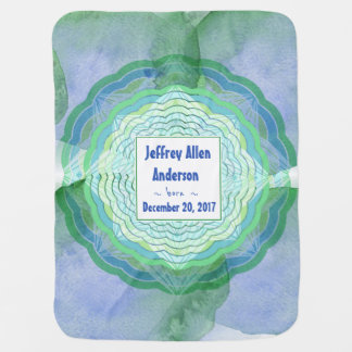 Blue and Green Waters Baby Announcement Baby Blanket