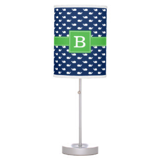 Blue and Green Whimsical Whales Pattern Monogram Table Lamp