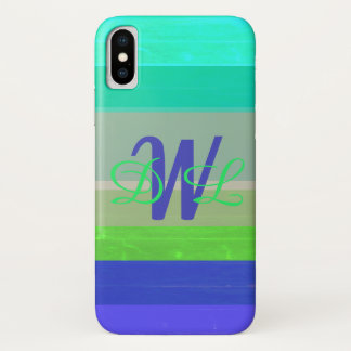 Blue and Green Wide Stripe Personalized iPhone X Case