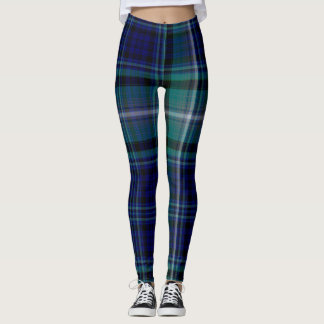Blue and Green Winter Plaid Leggings