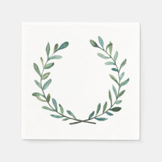 Blue and Green Wreath Disposable Napkin