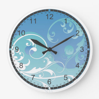 Blue and Green Yin & Yang Large Clock