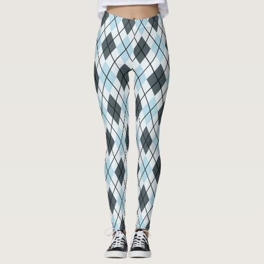 Blue and Grey Argyle Print Leggings