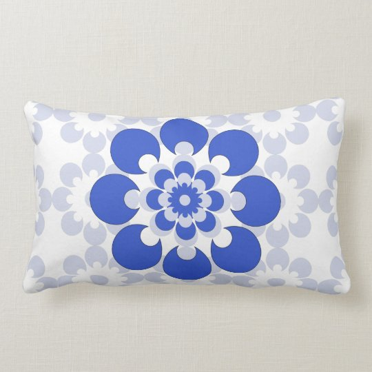 Blue and Grey Blue Flower Throw Pillow