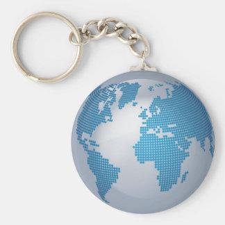 Blue and Grey Globe Basic Round Button Keychain