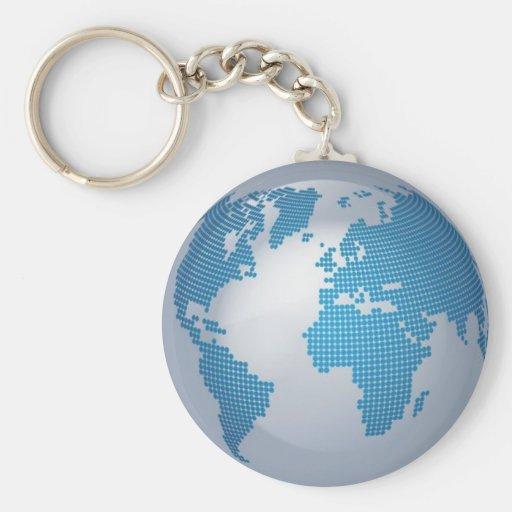 Blue and Grey Globe Keychains