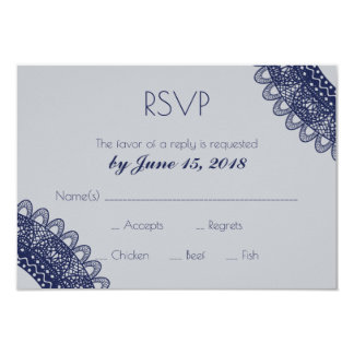 Blue and Grey Lace Wedding RSVP Card