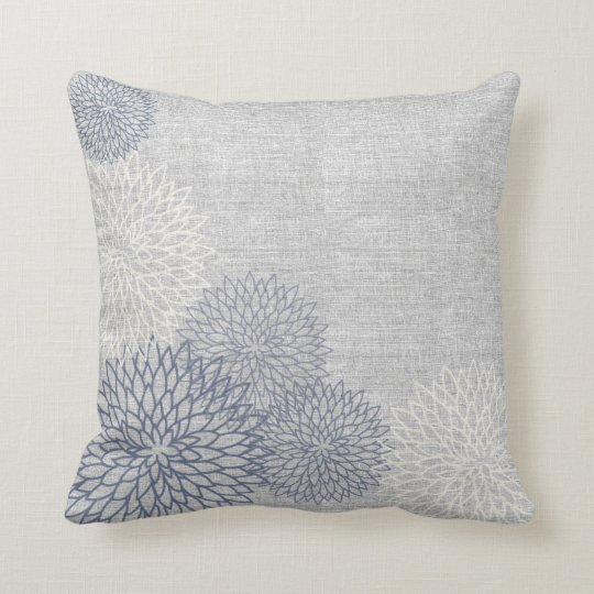 Blue and Grey Linen Floral Decorator Accent Pillow