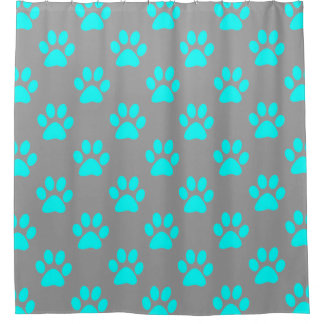 Blue and grey paws pattern
