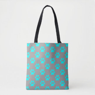 Blue and grey paws pattern tote bag